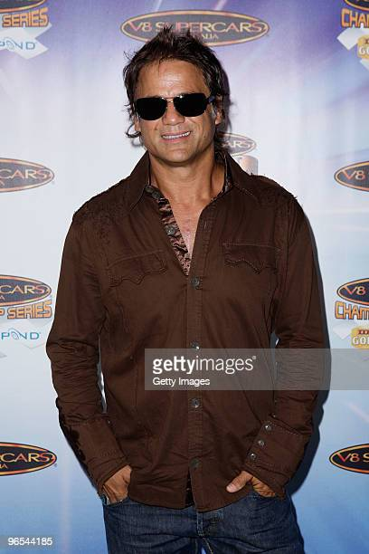 Jon Stevens of Noiseworks poses at the V8 Supercars 2010 Season Launch where singer Pnk was announced as the new Ambassador at Studio 3 Fox Studios...