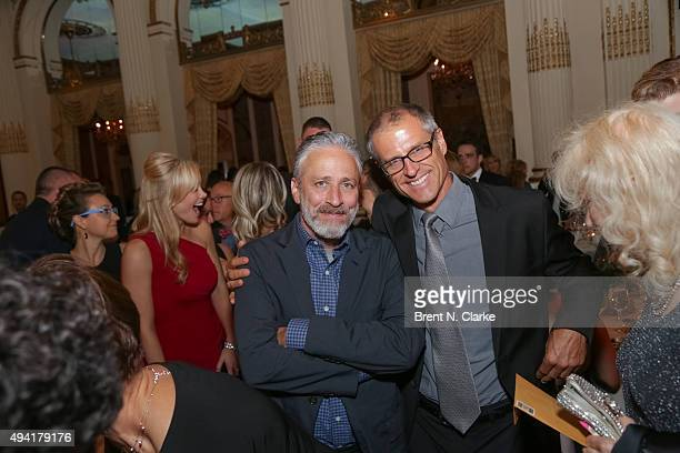 Jon Stewart and Gene Baur attend the 2015 Farm Sanctuary Gala held at The Plaza Hotel on October 24 2015 in New York City
