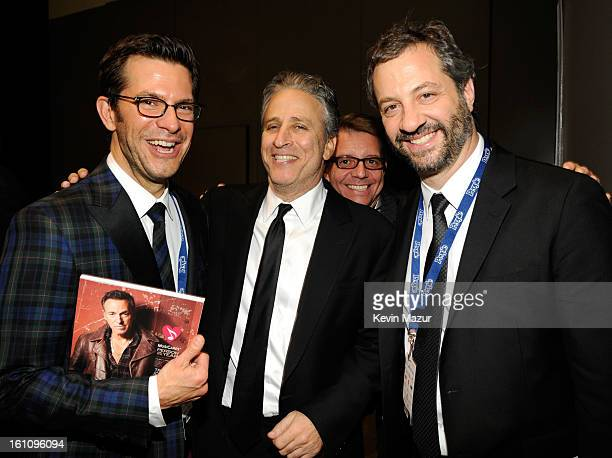 Jon Stewart and Judd Apatow attend MusiCares Person Of The Year Honoring Bruce Springsteen at Los Angeles Convention Center on February 8, 2013 in...