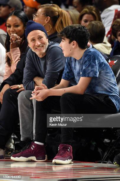 Jon Stewart and Nathan Stewart attend the 69th NBA AllStar Game at United Center on February 16 2020 in Chicago Illinois