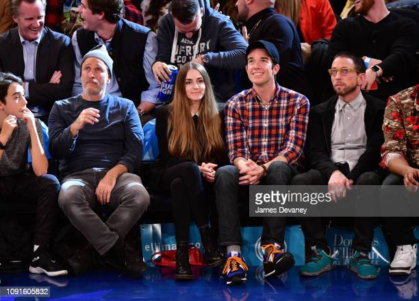 Jon Stewart Annamarie Tendler John Mulaney and Neal Brennan attend Dallas Mavericks v New York Knicks game at Madison Square Garden on January 30...