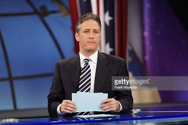 Jon Stewart appears during live Election Night coverage of The Daily Show with Jon Stewart November 2 2004 in New York City
