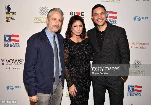 Jon Stewart Caroline Hirsch and Trevor Noah attend the 11th Annual Stand Up for Heroes Event presented by The New York Comedy Festival and The Bob...