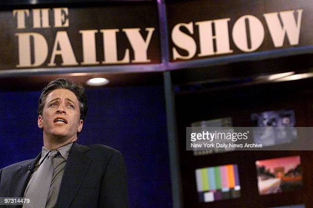 Jon Stewart comedian and host of The Daily Show rehearsing at the show's W 54th St studio