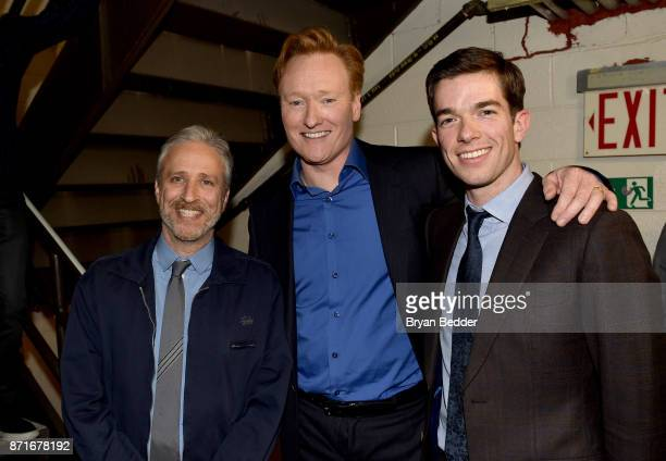 Jon Stewart Conan O'Brien and John Mulaney attend the 11th Annual Stand Up for Heroes Event presented by The New York Comedy Festival and The Bob...