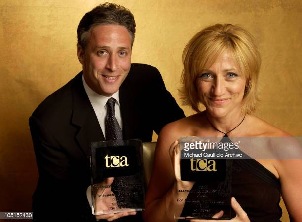 Jon Stewart Exec producer and Host of The Daily Show holds the TCA award for Individual achievement in Comedy with Edie Falco who won the TCA award...