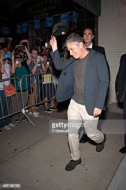 Jon Stewart is seen departing the final episode of 'The Daily Show with Jon Stewart' at The Daily Show Building on August 6 2015 in New York City