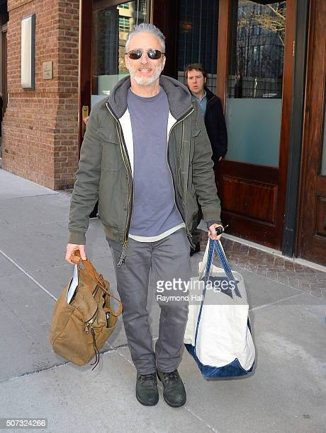 Jon Stewart is seen walking in Soho on January 28 2016 in New York City