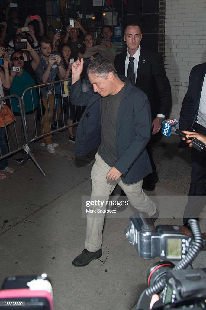 Jon Stewart leaves the final 'The Daily Show With Jon Stewart' on August 6, 2015 in New York City.