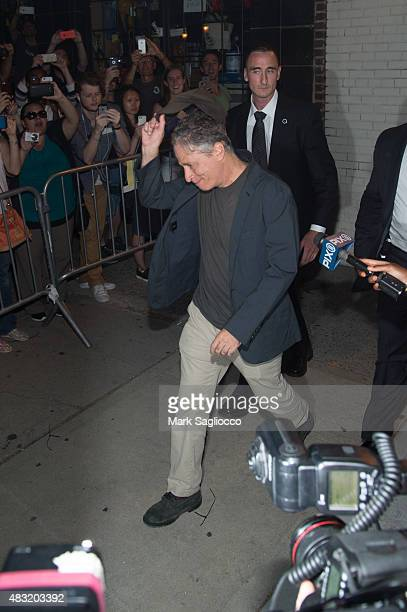 Jon Stewart leaves the final 'The Daily Show With Jon Stewart' on August 6 2015 in New York City
