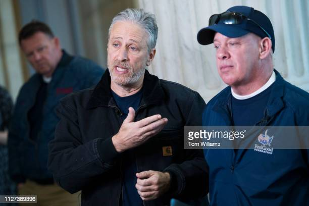 Jon Stewart left and 9/11 responder John Feal are interviewed in Russell Building while visiting Hill offices to call on Congress to make permanent...