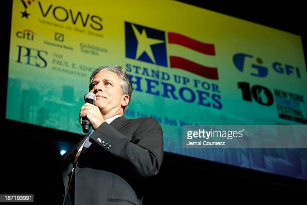 Jon Stewart performs at the 7th annual 'Stand Up For Heroes' event at Madison Square Garden on November 6 2013 in New York City