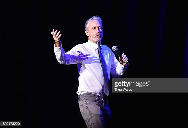 Jon Stewart performs on stage during 10th Annual Stand Up For Heroes at The Theater at Madison Square Garden on November 1 2016 in New York City