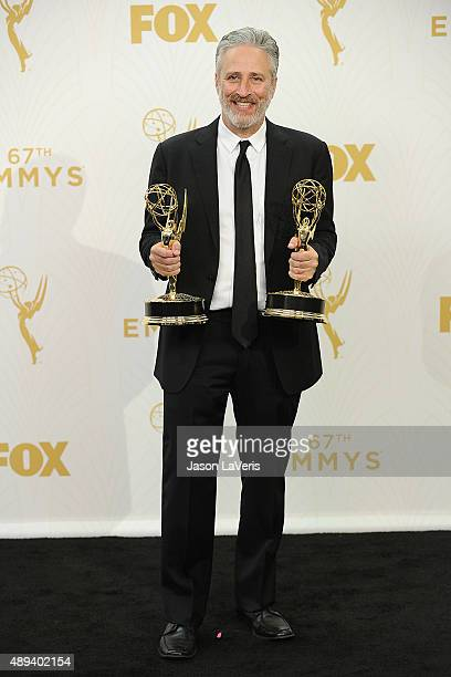 Jon Stewart poses in the press room at the 67th annual Primetime Emmy Awards at Microsoft Theater on September 20 2015 in Los Angeles California