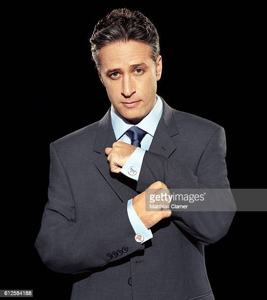 Jon Stewart prepares for the 2004 Presidential Election by wearing a Democratic donkey cuff link and a Republican elephant cuff link