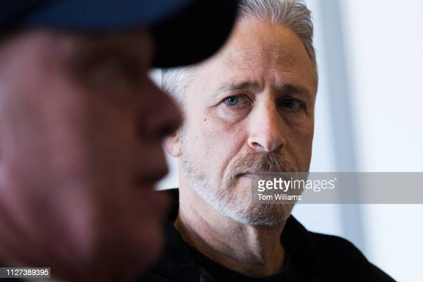 Jon Stewart right and 9/11 responder John Feal are interviewed in Russell Building while visiting Hill offices to call on Congress to make permanent...