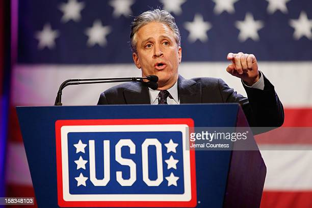 Jon Stewart speaks at the 51st USO Armed Forces Gala Gold Medal Dinner on December 13 2012 in New York City
