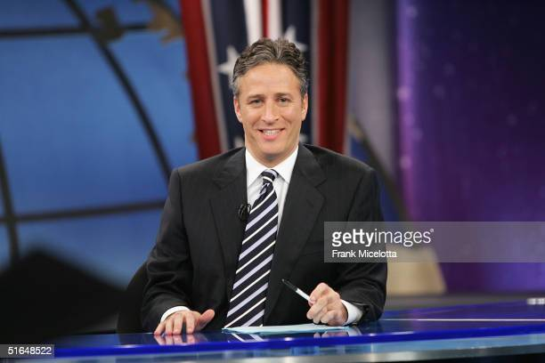 Jon Stewart speaks during live Election Night coverage of The Daily Show with Jon Stewart November 2 2004 in New York City
