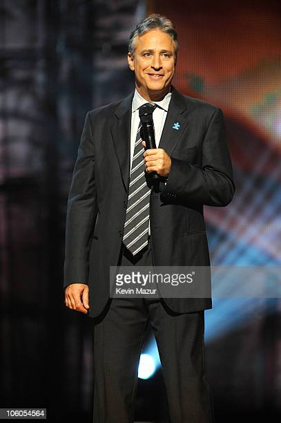 Jon Stewart speaks on stage at Comedy Central's Night Of Too Many Stars An Overbooked Concert For Autism Education at the Beacon Theatre on October 2...