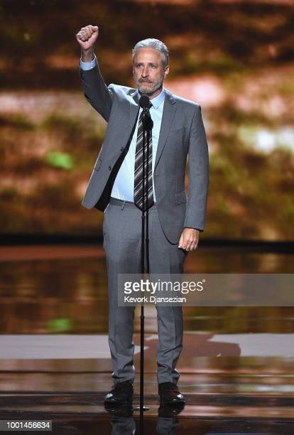 Jon Stewart speaks onstage at The 2018 ESPYS at Microsoft Theater on July 18 2018 in Los Angeles California