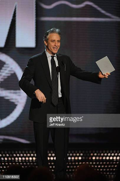 Jon Stewart speaks onstage at the First Annual Comedy Awards at Hammerstein Ballroom on March 26, 2011 in New York City.