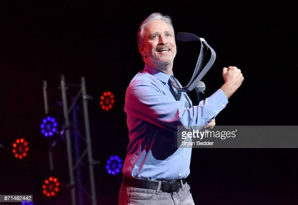 Jon Stewart speaks onstage during the 11th Annual Stand Up for Heroes Event presented by The New York Comedy Festival and The Bob Woodruff Foundation...