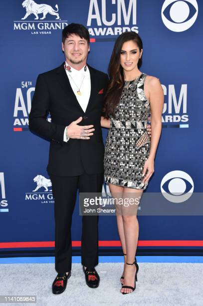 Jon Stone and Brittany Taylor attend the 54th Academy Of Country Music Awards at MGM Grand Garden Arena on April 07 2019 in Las Vegas Nevada