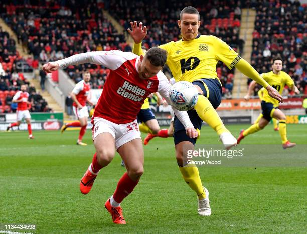 Jon Taylor of Rotherham battles for possession with Jack Rodwell of Blackburn Rovers during the Sky Bet Championship match between Rotherham United...