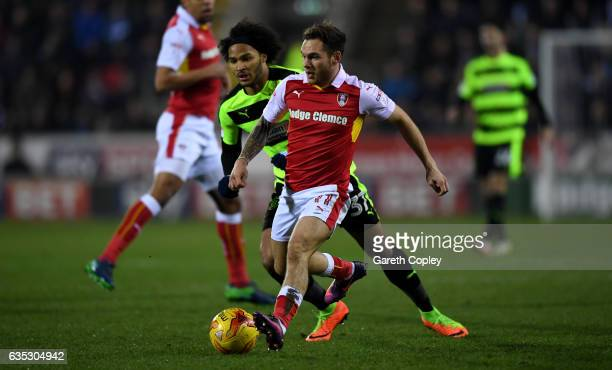 Jon Taylor of Rotherham gets past Izzy Brown of Huddersfield during the Sky Bet Championship match between Rotherham United and Huddersfield Town at...