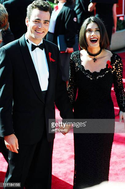 Jon Tenney and wife Teri Hatcher during 1993 Emmy Awards Arrivals in Los Angeles California
