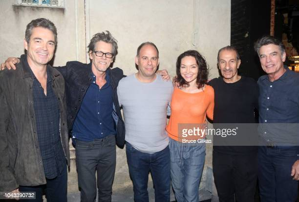 Jon Tenney Kevin Bacon Andrew Polk Katrina Lenk Sasson Gabay and Peter Gallagher pose backstage at the hit musical The Bands Visit on Broadway at The...