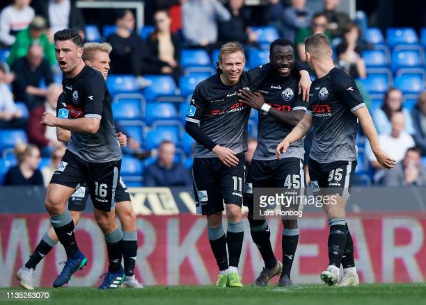 Jon Thorsteinsson AlHadji Kamara and Mikkel Wohlgemuth of Vendsyssel FF celebrate after scoring their first goal during the Danish Superliga match...