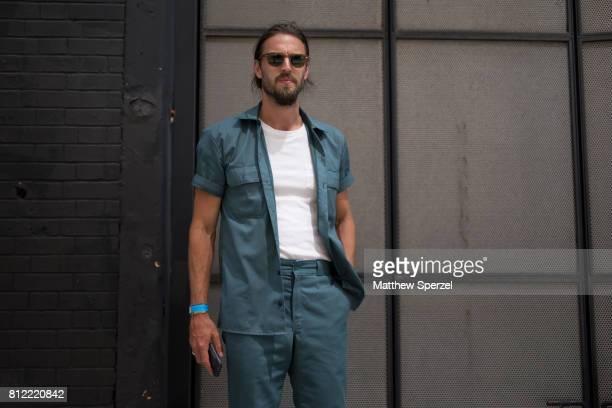 Jon Tietz is seen attending TEDDY ONDO ELLA during Men's New York Fashion Week wearing Undisclosed on July 10, 2017 in New York City.