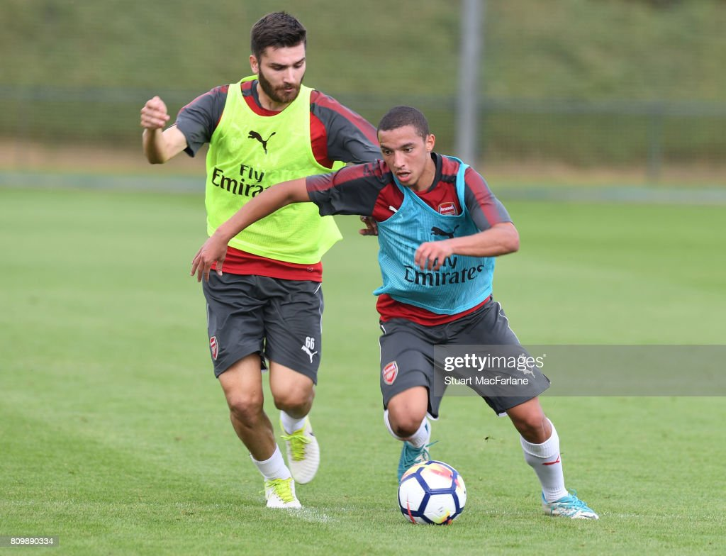 Jon Toral and Ismael Bennacer of Arsenal during a training session at London Colney on July 6, 2017 in St Albans, England.