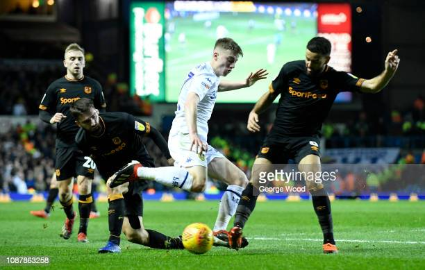 Jon Toral and Kevin Stewart of Hull City combine to tackle Jack Clarke of Leeds United during the Sky Bet Championship match between Leeds United and...