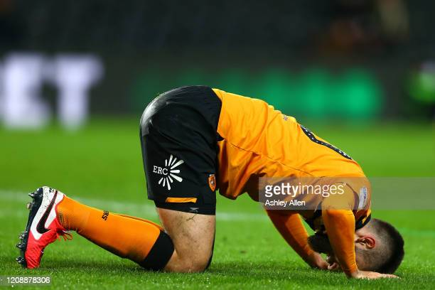 Jon Toral of Hull City reacts during the Sky Bet Championship match between Hull City and Barnsley at KCOM Stadium on February 26 2020 in Hull England