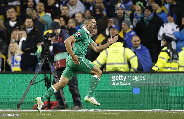 Jon Walters of Ireland celebrates celebrates scoring the second goal for his team during the UEFA EURO 2016 qualifier playoff second leg match...