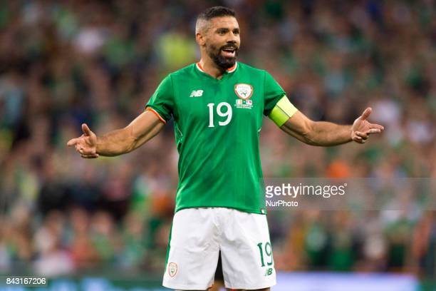 Jon Walters of Ireland reacts after Referee decision during the FIFA World Cup 2018 Qualifying Round match between Republic of Ireland and Serbia at...