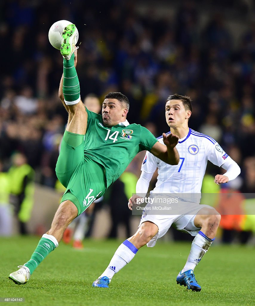 Jon Walters (L) of Republic of Ireland and Muhamed Besic (R) Bosnia-Herzegovina during the Euro 2016 play-off second leg between Republic of Ireland and Bosnia and Herzegovina at Aviva Stadium on November 16, 2015 in Dublin, Ireland.