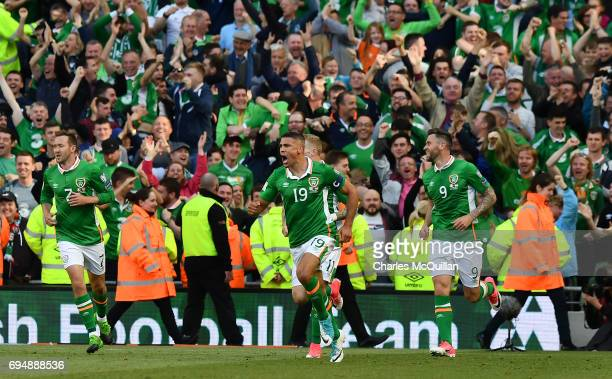 Jon Walters of Republic of Ireland celebrates after scoring a late equaliser during the FIFA 2018 World Cup Qualifier between Republic of Ireland and...