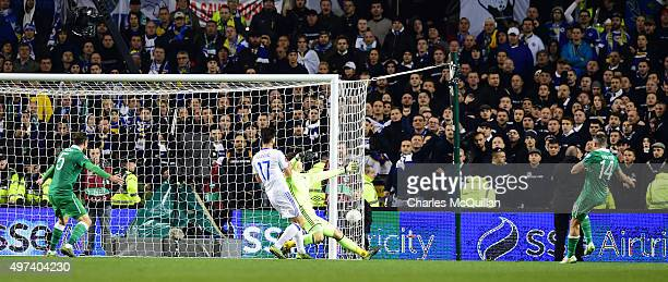 Jon Walters of Republic of Ireland scores during the Euro 2016 playoff second leg match between the Republic of Ireland and BosniaHerzegovina at...