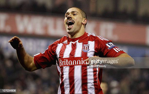 Jon Walters of Stoke celebrates after scoring his team's second goal from the penalty spot during the Barclays Premier League match between West...