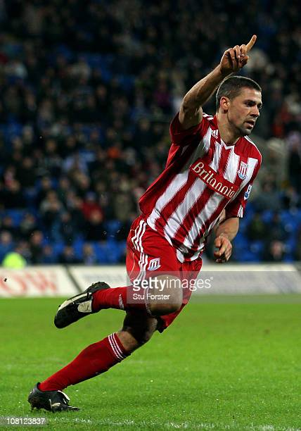 Jon Walters of Stoke celebrates scoring the opening goal during extra time in the FA Cup sponsored by EON 3rd Round replay match between Cardiff City...