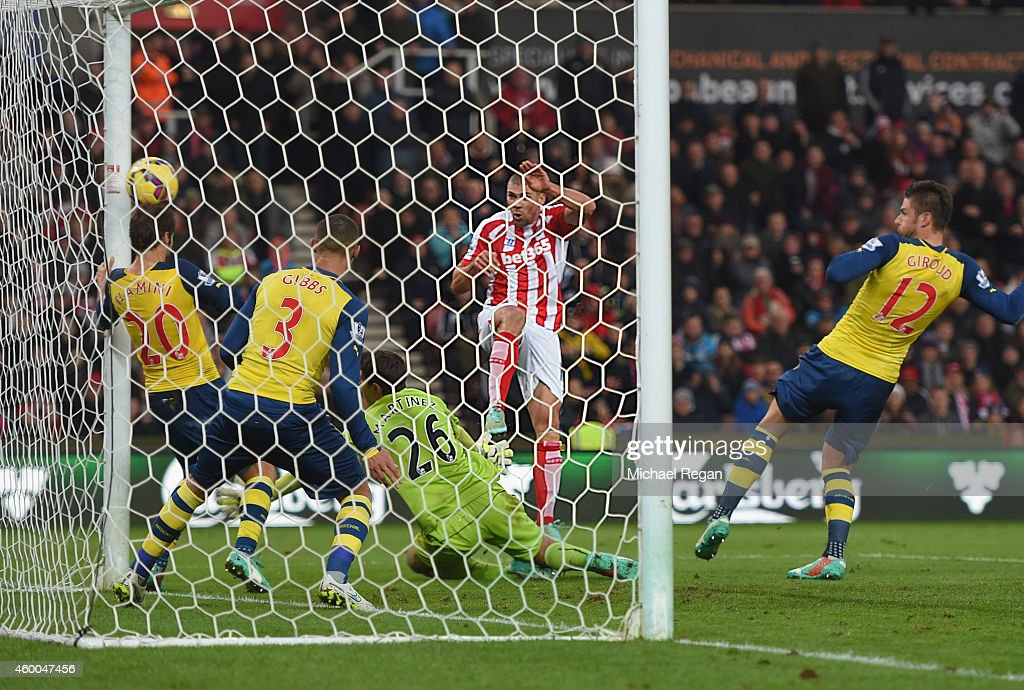 Jon Walters of Stoke scores to make it 3-0 during the Barclays Premier League match between Stoke City and Arsenal at Britannia Stadium on December 6, 2014 in Stoke on Trent, England.