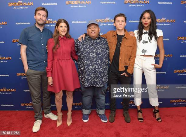 Jon Watts Marisa Tomei Jacob Batalon Tom Holland and Laura Harrier attend the 'Spiderman Homecoming' New York First Responders' Screening at Henry R...