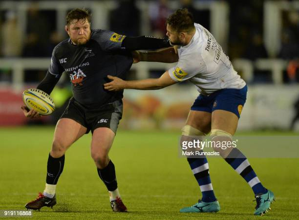 Jon Welsh of Newcastle Falcons is tackled by Elliot Stooke of Bath Rugby during the Aviva Premiership match between Newcastle Falcons and Bath Rugby...