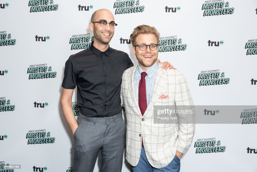 Jon Wolf and Adam Conover attend the premiere of truTV's 'Bobcat Goldthwait's Misfits & Monsters' at Hollywood Roosevelt Hotel on July 11, 2018 in Hollywood, California.