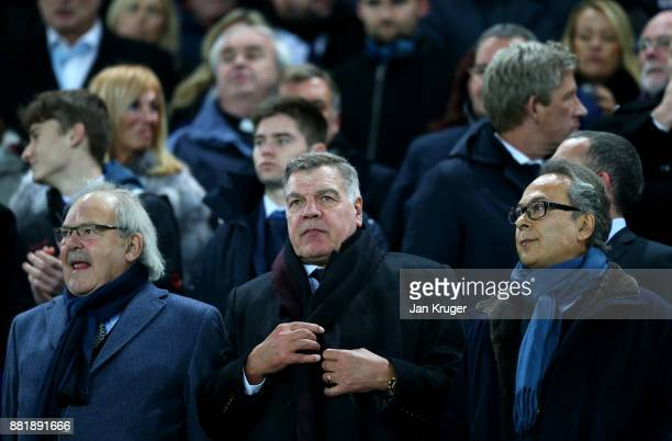 Jon Woods Sam Allardyce and Farhad Moshiri watches the match from the stand during the Premier League match between Everton and West Ham United at...