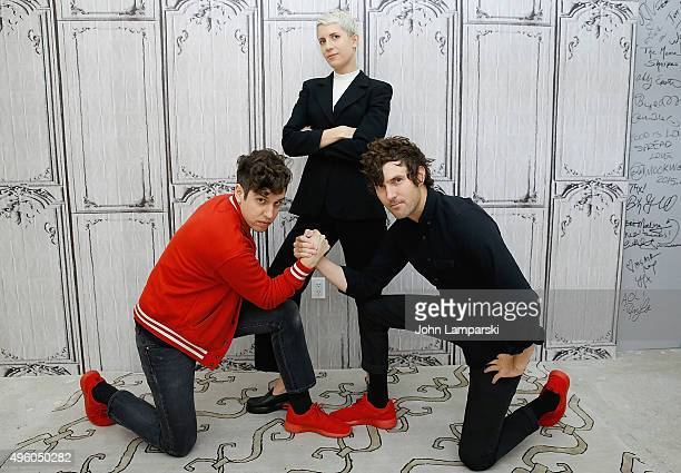 Jona Bechtolt, Claire L. Evans and Bobby Birdman of Yacht attend AOL Build at AOL Studios In New York on November 6, 2015 in New York City.