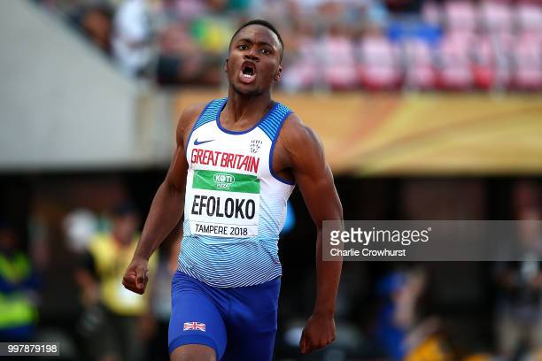 Jona Efoloko of Great Britain celebrates after winning gold in the final of the men's 200m on day four of The IAAF World U20 Championships on July 13...